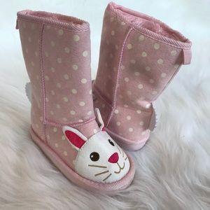 Old Navy Bunny Faux Fur Polka Dot Boots - Pink